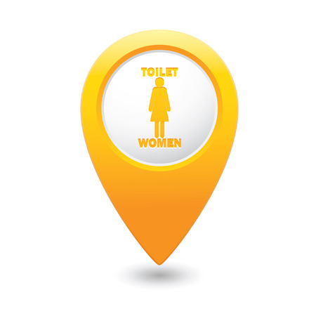 raster sex: Yellow map pointer with restroom icons, lady. WC icon Illustration