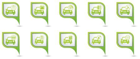 workshop service: Car service. Set of green map pointers. Illustration