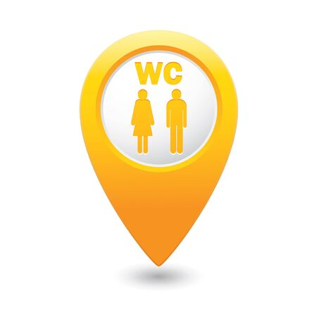 washroom: Map pointer with man and woman icon. Toilet, washroom, restroom, lavatory or WC sign. Vector illustration