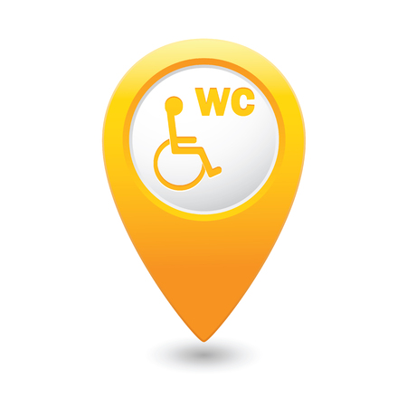 paralyze: Yellow map pointer with restroom icon.