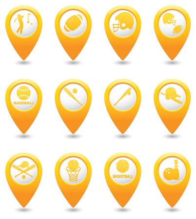 backhand: Basketball, Baseball, American football icons on yellow map pointers.