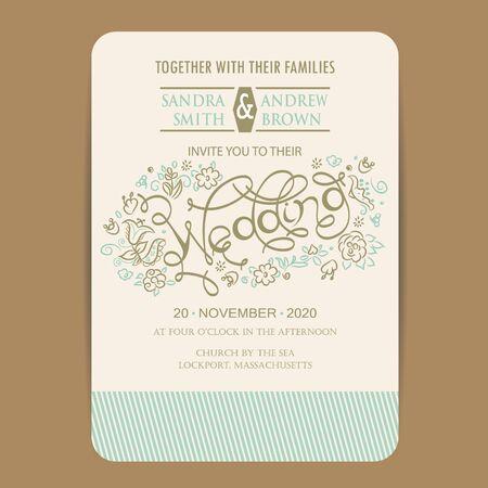 vector set: Beautiful wedding invitation card with hand drawn flowers. Illustration