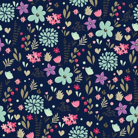 花の背景と抽象的なシームレス パターン。ベクトル図