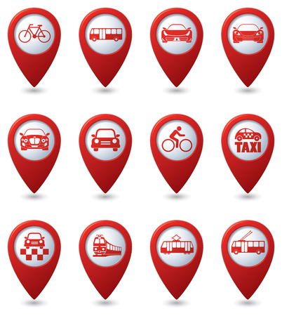 excursions: Map pointer with transportation icon. Vector illustration
