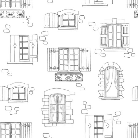 vintage window drawing. old window: seamless pattern with vintage window drawing