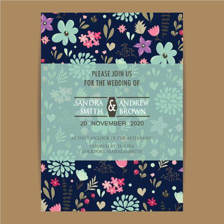 美しい花との結婚式の招待カード