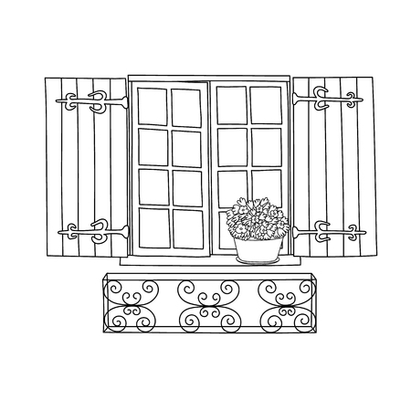 house drawing: Vintage window with blooming flowers in pot.