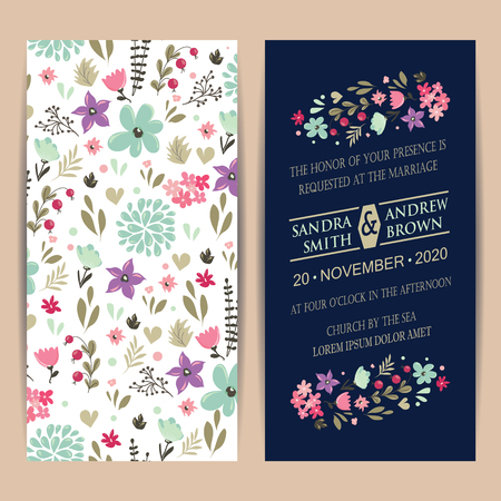 Wedding invitation card or announcement with beautiful flowers. Illustration