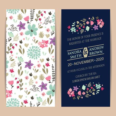 felicitaciones: tarjeta de invitación de la boda o un anuncio con hermosas flores. Vectores