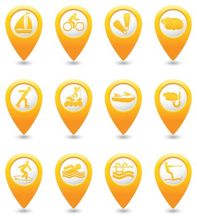summer sport: Summer Sport And Vacation Icons On Yellow Map Pointers Illustration