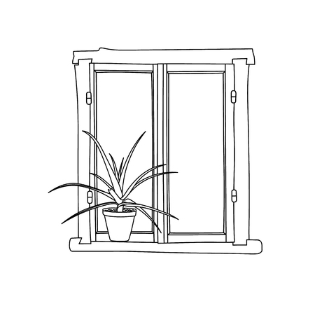 cartoon window: Vintage window with flower in pot.