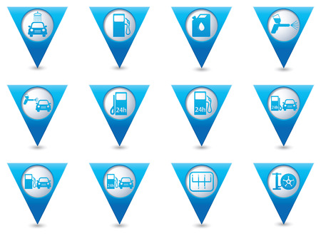 excursions: Blue triangular map pointers with car service and gas station icons. Vector illustration Illustration