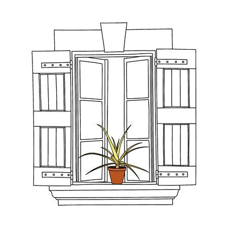 balcony window: Vintage window with flower in pot.