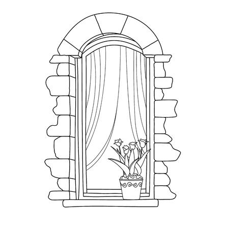balcony: Vintage window with flower in pot.