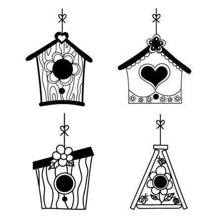 Set of birds nesting boxes. Illustration