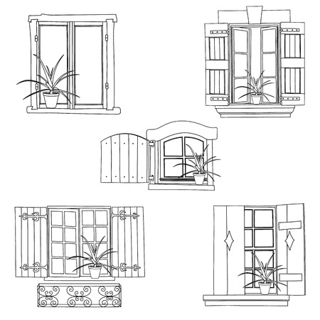 balcony: Vintage windows set with flowers in the pot on white background Illustration