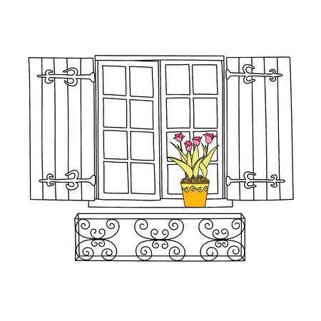 house illustration: Vintage window with flowers in the pot.