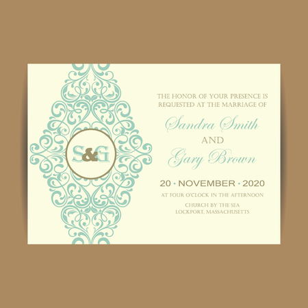beautiful anniversary: Wedding Invitation Card With Floral Background.
