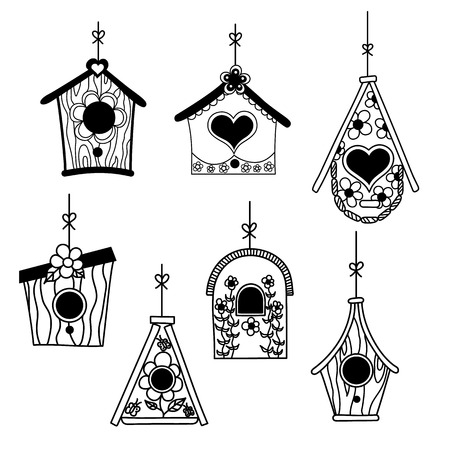 birds: Set of birds nesting boxes. Illustration