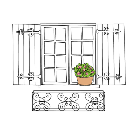 balcony: Vintage window with flowers in the pot.