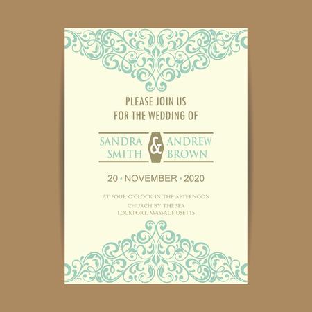 Mooie vintage huwelijk uitnodigingskaart. Stock Illustratie