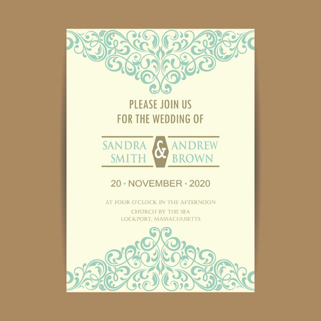 Beautiful vintage wedding invitation card.