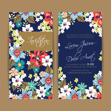 Wedding invitation card or announcement. Çizim