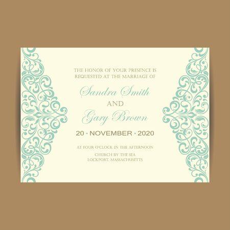 wedding invitation vintage: Beautiful vintage wedding invitation card.