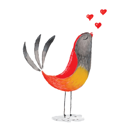 Watercolor bird in love for your design.