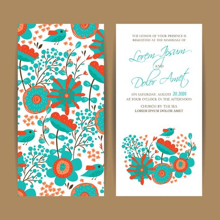 announcement: Wedding invitation card or announcement. Illustration