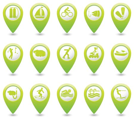 Sport and recreation icon set on green map pointers.