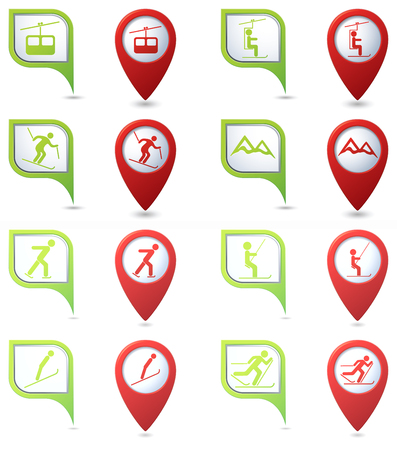 chairlift: Winter sport icons set on green and red map pointers. Illustration