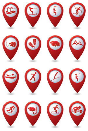 recreation: Sport and recreation icon set on red map pointers.