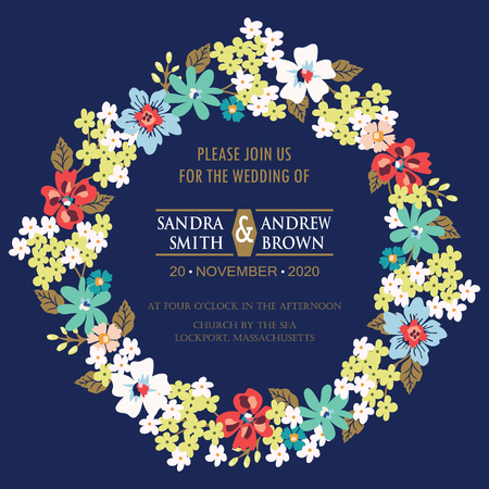 wedding reception: Invitation or announcement card with floral wreath. Can be used as greeting card, birthday card or wedding invitation.