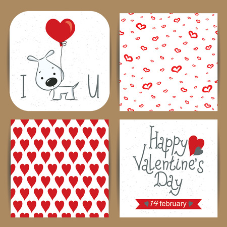Set of happy valentines day cards with hearts Illustration