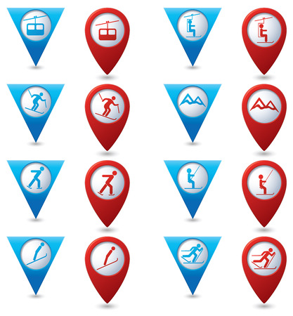 chairlift: Winter sport icons set on blue and red map pointers.
