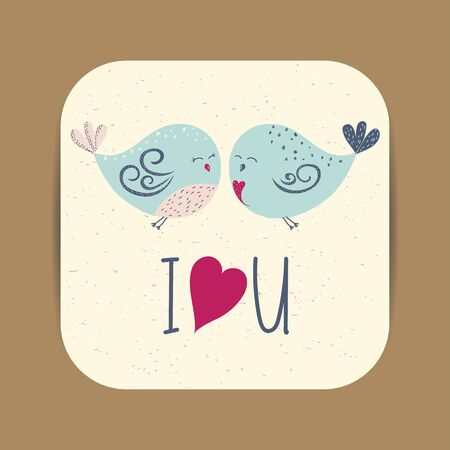 Cute card template with two birds in love for Valentines day, wedding or save the date card. Vector illustration.