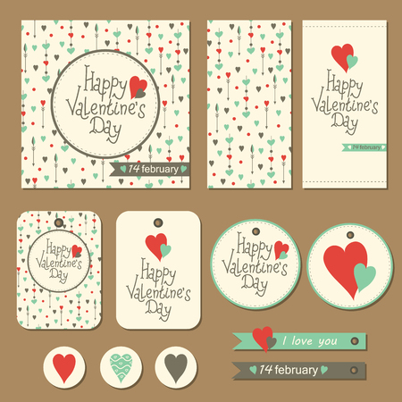 unusual valentine: Set of happy valentines day cards with hearts Illustration