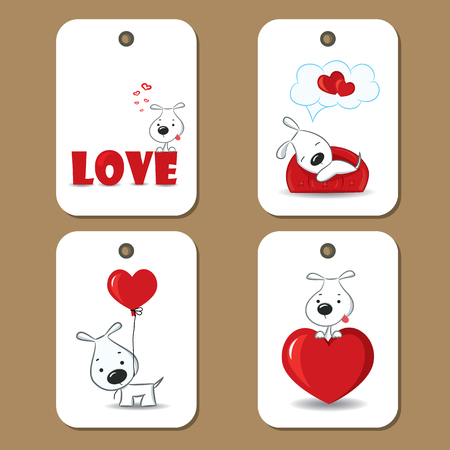 cute love: Tags with cute dogs in love.