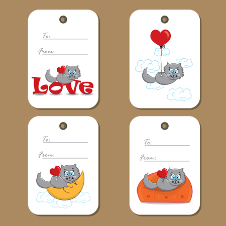 cute love: Tags with cute cat in love