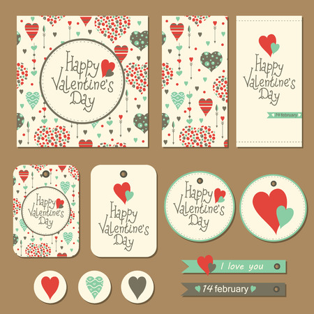 Set of cards, gift tags and labels with hearts and arrows for Valentines day. Vector illustration.