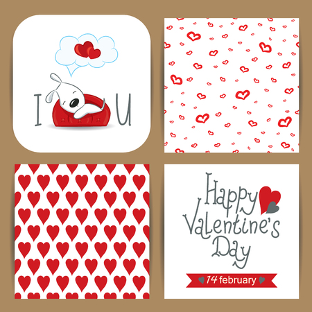day dreaming: Cute card with dog dreaming on the sofa and seamless patterns with hearts for Valentines Day.