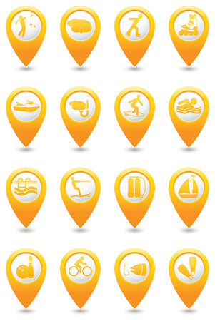 map pointers: Sport and recreation icon set on yellow map pointers.