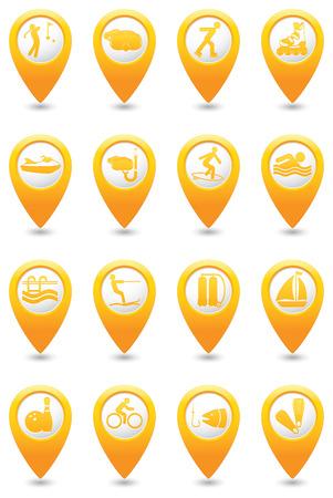 ricreazione: Sport e tempo libero impostato su mappa puntatori gialli.