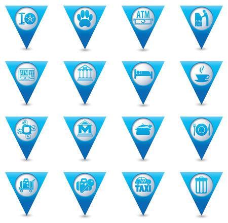 pointers: Service icons on blue triangular map pointers.