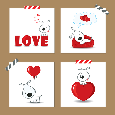 cute puppy: Cute Valentines day cards with funny puppy and hearts.