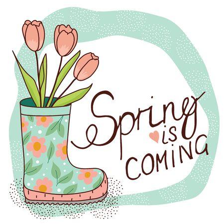 carte de printemps avec botte de pluie et de tulipes Vecteurs