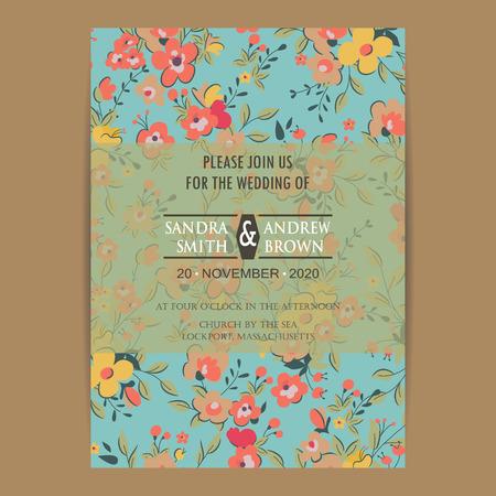 tarjeta de invitación de la boda o un anuncio. Se puede utilizar como tarjeta de felicitación, tarjeta de cumpleaños o invitación del partido. Ilustración de vector