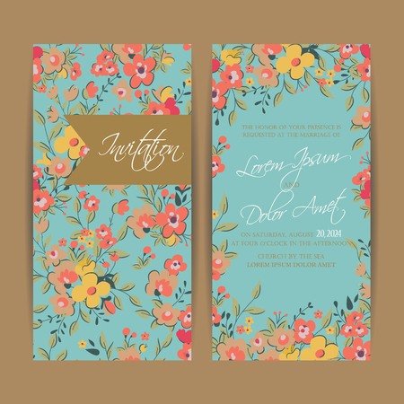 Wedding invitation card or announcement . Can be used as greeting card, birthday card or party invitation.