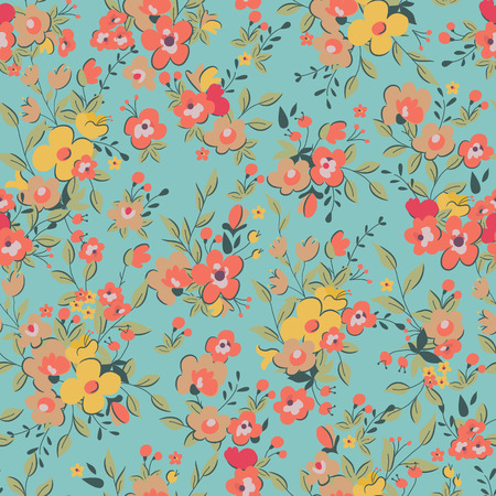 シームレスな花模様。ベクトル図